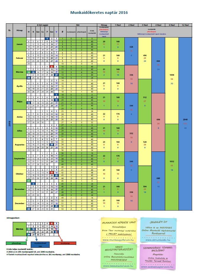 2010 évi munkaidő naptár Munkaügyi naptár 2016 2010 évi munkaidő naptár