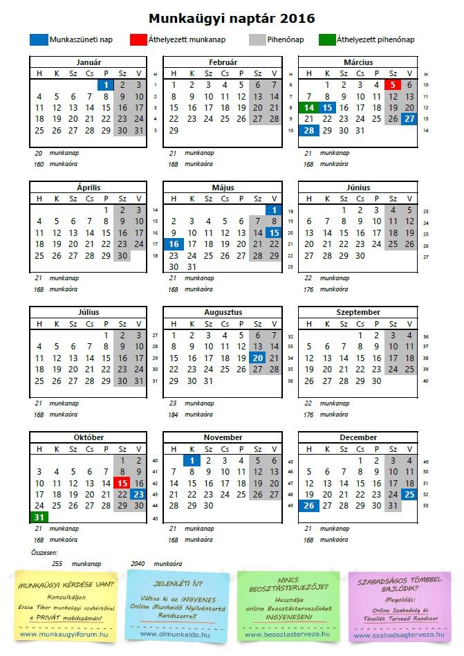 2009 évi munkaidő naptár Munkaügyi naptár 2016 2009 évi munkaidő naptár